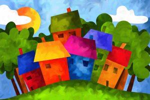 kleurige huisjes